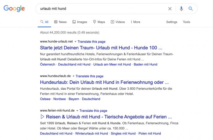 Portale in den Suchergebnissen